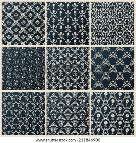 Vector seamless vintage backgrounds. Abstract set black baroque wallpaper - stock vector