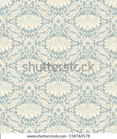vector seamless vintage damask pattern background with floral retro ornament  in antique baroque style ornate decorative  calligraphy design flower - stock vector