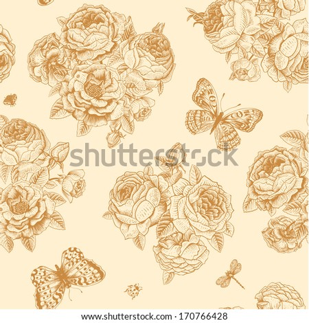 Vector seamless vintage floral pattern. Bouquets of pink, yellow, white, coral roses on beige background with polka dots. - stock vector
