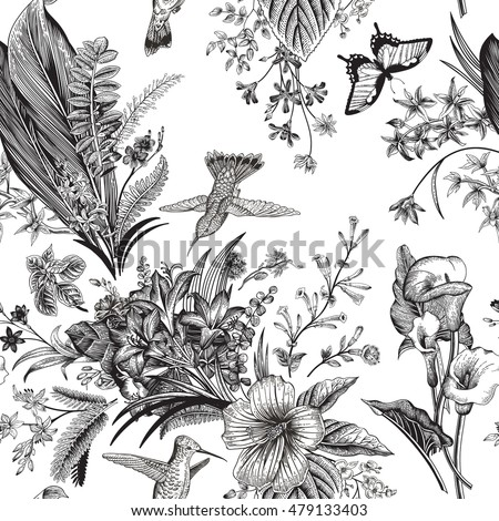 Vector Seamless Vintage Floral Pattern Exotic Flowers And Birds Botanical Classic Illustration Black