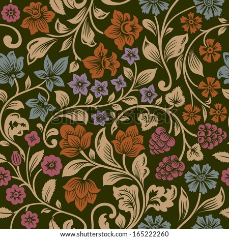 Vector seamless vintage floral pattern. Stylized silhouettes of flowers and berries on a black background. Orange, pink, brown, purple flowers with gold leaves. Persia. - stock vector