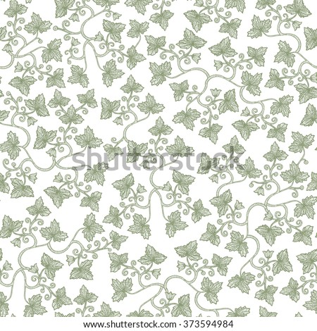 Vector seamless vintage floral pattern. Stylized silhouettes of grape leaves on a white background. Eps-8. - stock vector