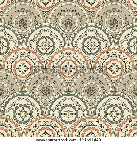 vector seamless vintage oriental wallpaper pattern, fully editable eps 8 file,fully editable eps 8 file with clipping mask and seamless pattern in swatch menu - stock vector