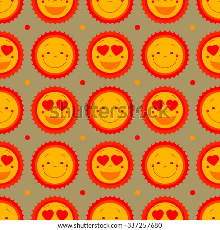 Vector seamless vintage pattern background with suns. Retro style cute kiddish seamless background design for kids room, baby fashion (clothes). Suns abstract background for summer beach, party decor - stock vector
