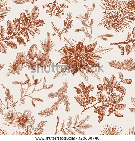 Vector Seamless vintage pattern. Christmas Botanical background. - stock vector