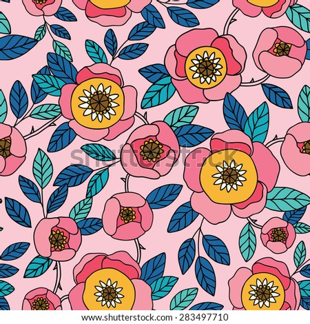 Vector seamless vintage pattern with colorful flower.Can be used for desktop wallpaper or frame for a wall hanging or poster,for pattern fills, surface textures, web page backgrounds, textile and more - stock vector