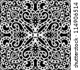 vector seamless vintage white and black floral pattern background - stock vector