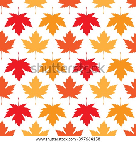 Vector seamless wallpaper. Autumn maple leaves of different colors on a white background - stock vector