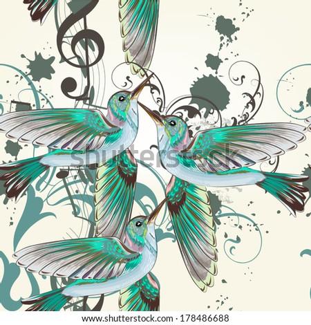 Vector seamless wallpaper pattern with birds  - stock vector