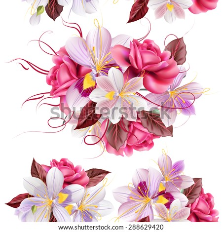 Vector seamless wallpaper pattern with roses and hyacinth flowers - stock vector