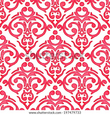 Vector seamless watercolor baroque damask luxury background