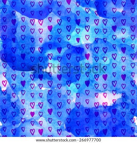 Vector seamless watercolor pattern with hearts. Blue background. Can use for gift wrapping paper, scrapbook, textiles, baby announcement, Valentine's Day, Mother's Day, Easter, wedding. Maroon color - stock vector