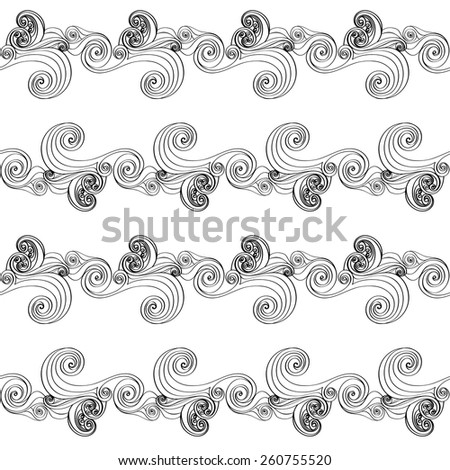 Vector Seamless Wave Hand-drawn Pattern. Waves Geometric Background. Can be used for web page background, wallpaper, pattern fills, surface textures.