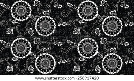 vector seamless white and black traditional floral pattern background - stock vector
