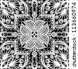 vector seamless white and black vintage floral pattern background - stock vector