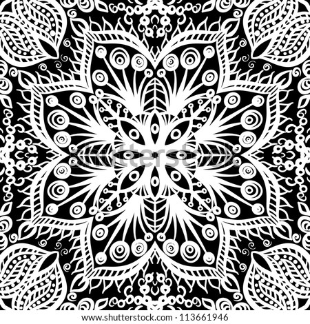 vector seamless white and black vintage floral pattern background