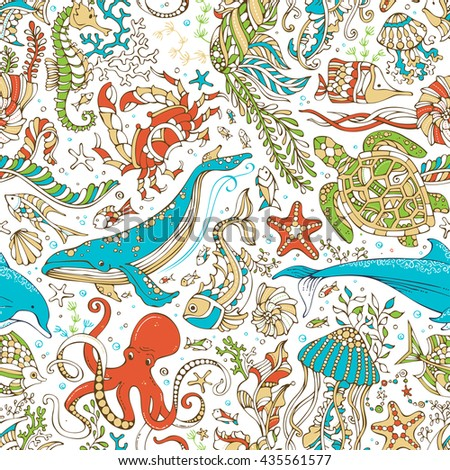 Vector seamless wild sea life pattern. Octopus, whale, dolphin, turtle, fish, starfish, crab, shell, jellyfish, seahorse, algae on white background. Doodles underwater ocean animals and plants.