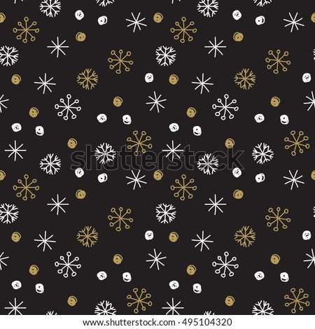 Vector Seamless Winter Pattern Background with White and Gold Snowflakes on Black Background. Can be used for textile, parer, scrapbooking, wrapping, web and print design