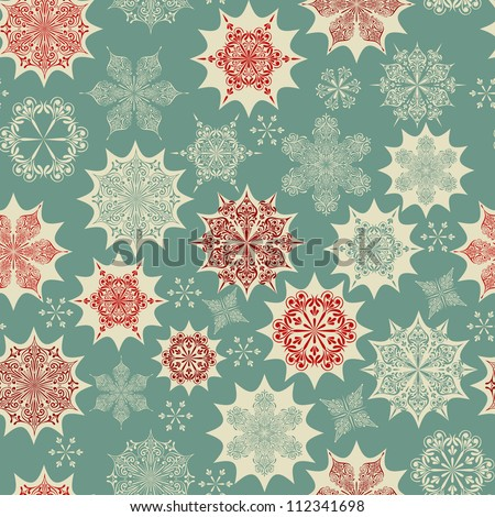 Vector  Seamless Winter Pattern with Snowflakes,  fully editable eps 8 file with clipping masks and seamless patterns in swatch menu - stock vector