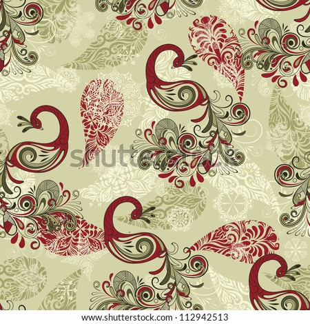 vector seamless winter pattern with stylized peacocks and snowflakes, fully editable file with clipping masks