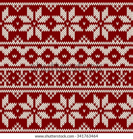 Vector seamless winter red pattern - stock vector