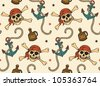 vector seamless with anchor and skulls - stock vector