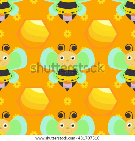 Vector seamless with bee and honey. - stock vector