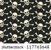 vector seamless with bones and skulls - stock vector