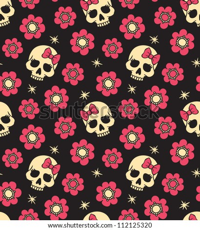 vector seamless with flowers and skulls - stock vector