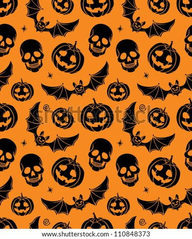 vector seamless with pumpkin, bat and skull
