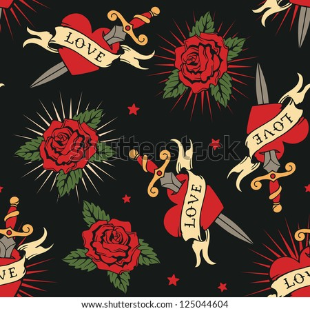 vector seamless with roses and hearts - stock vector