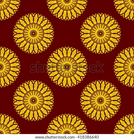 Vector Seamless Yellow Floral Mandala Pattern over Dark Red. Seamless pattern for your designs, invitation card, yoga, meditation, astrology and other wrapped projects. Pattern in swatches panel.