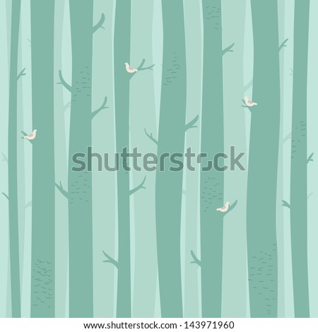 Vector seammless pattern with trees and birds