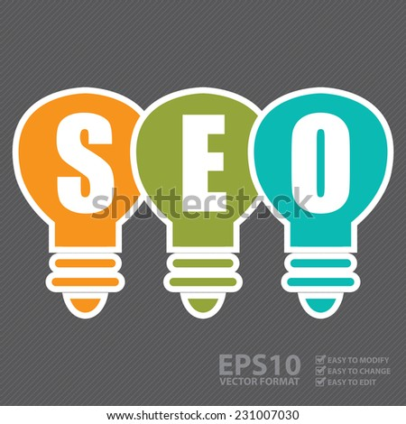 Vector : Search Engine Optimization, SEO Concept With Light Bulb - stock vector