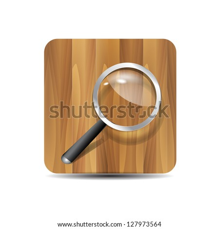 Vector search icon:  magnifying glass on wooden background - stock vector