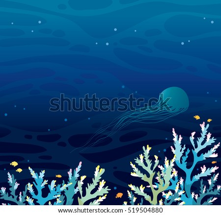 Vector seascape - coral reef and silhouette of jellyfish on a night sea background. Vector illustration.
