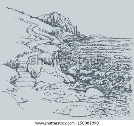 Vector seascape. Steps leading down the steep descent to the rocky shore, lapped by the surf - stock vector
