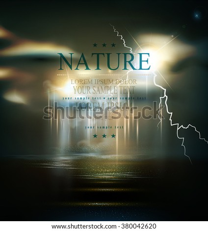 vector seascape with storm, bad weather, night thunderstorm - stock vector