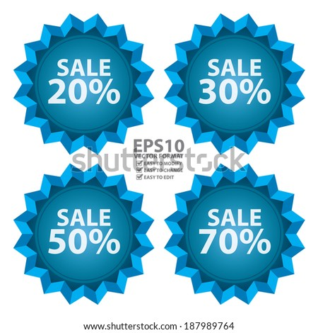 Vector : Seasonal, Special Promotion or Marketing Material, Blue Sale 20 - 70 Percent Icon or Label Isolated on White Background - stock vector