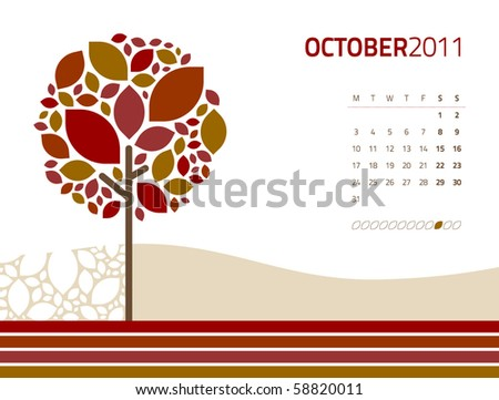 vector seasonal tree calendar october - stock vector