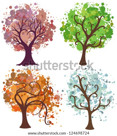 vector seasonal trees with splashes