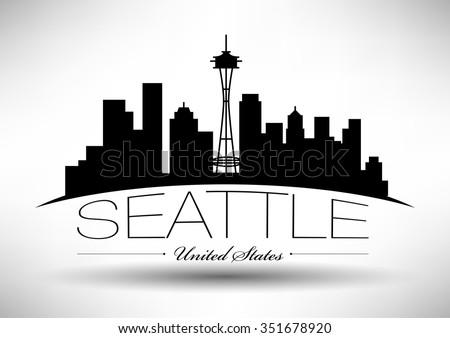 Vector Seattle Skyline Design - stock vector