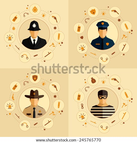 vector security icon, police background, law, crime badge set illustration - stock vector