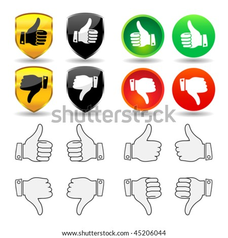 Vector selection of thumb icons and badges, with thumb pointing up and down for the right and left hand. JPG and TIFF versions of this image are also available in my portfolio. - stock vector