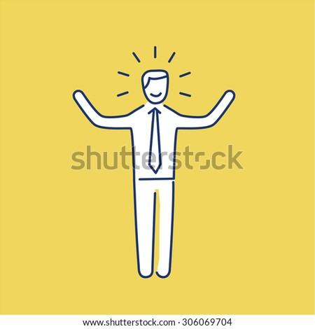 Vector self confidence skills icon of happy businessman with hands up | modern flat design soft skills linear illustration and infographic on yellow background - stock vector