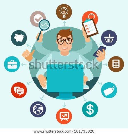Vector self employment concept in flat style - multitasking man working on different projects from his home office - stock vector