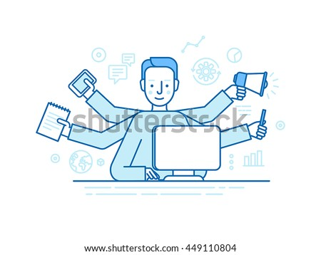 Vector self employment concept in trendy flat linear style - multitasking freelancer - man working on different projects from his home office - jack of all trades concept - stock vector