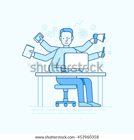 home office multitasking. modren office vector self employment concept in trendy flat linear style  multitasking  freelancer man working on in home office multitasking