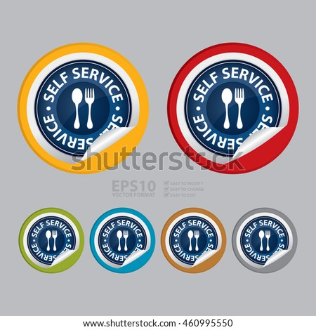 Vector : Self Service Food Station Sign Infographics Icon on Circle Peeling Sticker