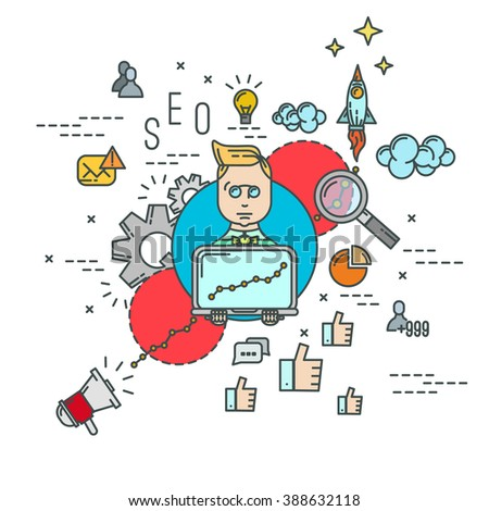 Vector SEO specialist . Outline flat icons set . Seo concept illustration . Seo infographic . Man with laptop .search engine optimization - stock vector